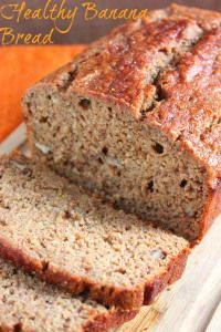 Healthy Banana Bread.  Made with whole wheat flour, applesauce and honey.  I will sub out the wheat germ for flax meal