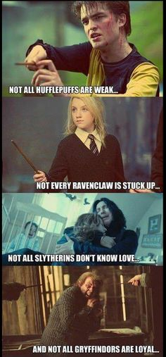 Houses are not excuses to stereotype bad characteristics. As the sorting hat says, it is important to not let houses divide the student body, and the same goes for the fans.