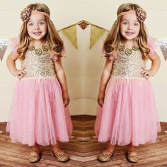 Toddler Girls Casual Sequins Clothes Baby Kids Bling Party Wedding Tutu Dress #Unbranded