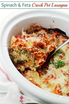 Spinach and Feta Crock Pot Lasagna - Layers of spinach, feta and light ricotta nestled between sheets of lasagna noodles. Place all the ingredients in the Crock Pot and walk away.