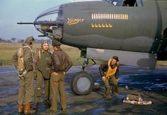 The crew of the bomber the B-26 Marauder (B-26B-20-MA, serial number 41-31767) of the 449-332 squadron of the 5th bombardment group, 9-th air army of the United States AIR FORCE (449th Bomber Squadron 322nd Bombardment Group 9th Air Force) with own...