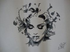 Madonna in Ashes ( Dubai 2011), Contrast painting in acryl on canvas by Marianne Bakkerud. Exhibited on 5th Avenue in 2013 and on Times Square in 2014.