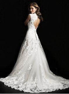 A-Line/Princess V-neck Court Train Tulle Lace Wedding Dress                                                                                                                                                                                 More
