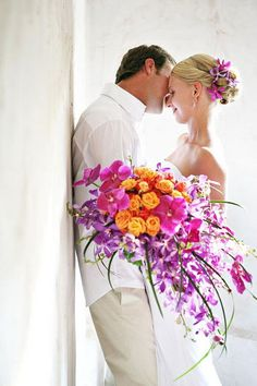 Cascading Bridal Bouquets | Cool colorful wedding cascading bridal bouquet models