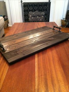 "Reclaimed Dark Stained Pallet Wood Flat Serving Tray 30"" x 18"""