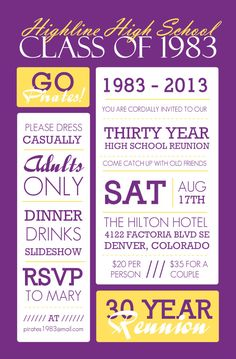 Poster Style Purple And Yellow Class Reunion Invitation                                                                                                                                                                                 More