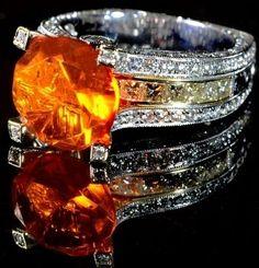 Custom Made Mexican Fire Opal Ring Custom Jewelry