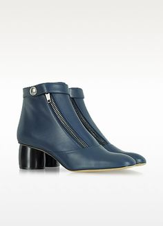 Midnight Blue Double-Zip Leather Ankle Boot - Marc Jacobs