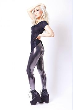 Black Milk Liquid Silver Leggings-I so wish I could pull this off!!!!!!!