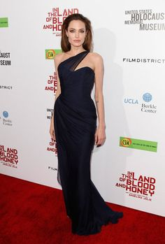 Angelina Jolie   Wearing Romona Keveza at the In the Land of Blood And Honey Los Angeles premiere.