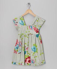 Look at this #zulilyfind! Green Rose A-Line Dress - Toddler & Girls #zulilyfinds