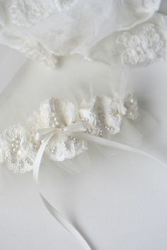 Custom Wedding Garter Using Mom's Wedding Dress Sleeve With Lace, Pearls & Tulle: by The Garter Girl