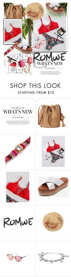 """ROMWE - Red Floral Print Criss Cross Bikini Set"" by miss-maca ❤ liked on Polyvore"