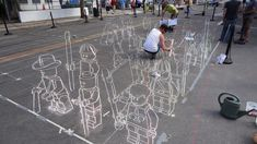 3D Lego chalk drawings!