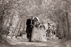 Couple walking through willow arch at Bennetts Water Gardens, Weymouth by Dorset Wedding Photographer - Linus Moran
