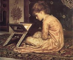 At a Reading Desk - Sir Frederic Lord Leighton - 1877. Art for the Ages