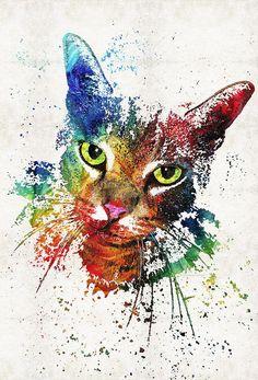 CAT Kitty arte grabado pintura colorida caprichosa mascotas gatitos gatos lienzo listo para colgar grande arte feliz divertido lindo regalo animales felino
