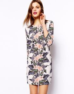 ASOS Body-Conscious Mini Dress In Hawaii Mirror Floral Print