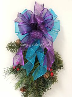 Purple Turquoise Christmas Bow Turquoise By SimplyAdornmentsss