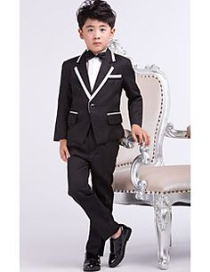 Black Satin Ring Bearer Suit - 4 Pieces – USD $ 39.99