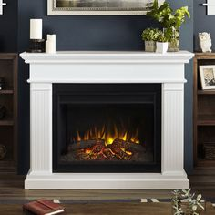 Real Flame Kennedy Grand TV Stand with Fireplace Finish: Electric Fireplace Reviews, Wall Mount Electric Fireplace, Fireplace Tv Stand, White Fireplace, Fireplace Inserts, Diy Fireplace, Fireplace Design, Electric Fireplaces, White Electric Fireplace