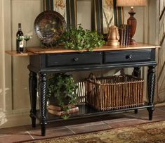 Hillsdale Wilshire Sideboard Table In Rubbed Black  Perfect For My Large  Entry Mirror