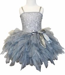 "Ooh La La Couture Stunning Silver ""Wow"" Emma Dress with Silver Sash BowSizes 2T-14"