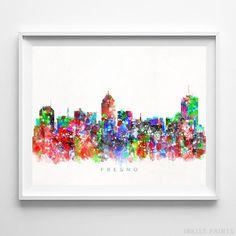 Fresno California Skyline Watercolor Wall Art Print. Prices from $9.95. Available at InkistPrints.com - #skyline#watercolor#cityscape#walldecor#livingroomdecor#Fresno #California