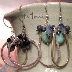Beaded Hammered Wire Hoop Earrings | JewelryLessons.com