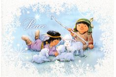 https://flic.kr/p/PJpqJm | Postcrossing US-4377533 | Christmas card with Native American children as shepherds with their sheep.  Sent to a Postcrosser in Germany.