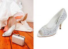 JENNA Low Heel Ivory Crystal Encrusted Wedding Bridal Shoes GBP87