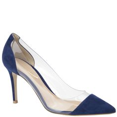 Gianvito Rossi, blue suede and plexi panel pump, spring summer 2014. www.wunderl.com