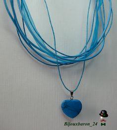 Türkisfarbene Halskette, Leder, Steinherz von Bijouxbaron_24 auf DaWanda.com