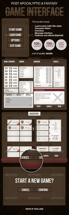 Post Apocalyptic or Medieval RPG Game Interface