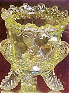 Vaseline Carnival Glass Fan Toothpick Holder. Click on the image for more information.