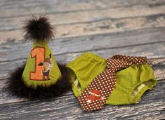 Birthday Party Hat, Diaper Cover, Tie - First Birthday, Smash Cake Pics, Photo Prop - Forest Friends Woodland Animals - Cake Smash Outfit in Green Brown Orange with Deer and Fox