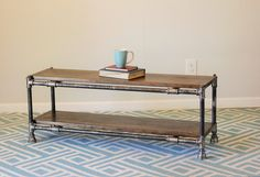 Pipe and Wood Coffee Table