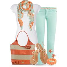 Coral & Turquoise. Minty jeans, coral Brahmin tote, cute coral sandals and a scarf that ties it all together.