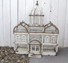 Reserved Sale Vintage Wooden Bird Cage White Chippy Paint Victorian Shabby Chic…