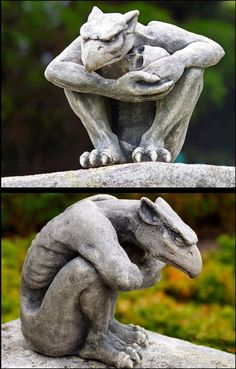 The Protector gargoyle has a classic Hollywood Gothic feel to him, he holds a disembodied skull in his arms as though he is protecting it, crouching, wa. Sculpture Art, Garden Sculpture, Dragons, Gothic Gargoyles, Arte Hip Hop, Angels And Demons, Gothic Architecture, Green Man, Stone Carving