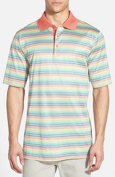 Men's Bugatchi Stripe Jacquard Mercerized Cotton Polo
