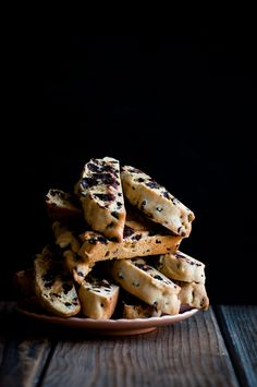 Dark Chocolate Chip and Currant Biscotti