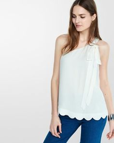 one shoulder long tie scalloped hem tank from EXPRESS