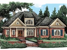 086H-0026: Southern House Plan with Bonus Room Southern House Plans, Family House Plans, Best House Plans, European Plan, European House, His And Hers Sinks, Electrical Layout, Duplex House Plans