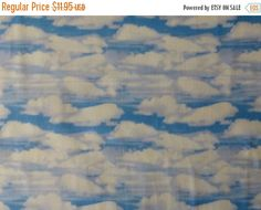 Clearance SALE Cotton Fabric, Quilt, Home Decor,Clouds in the Sky, Danscapes by RJR Fabrics, Fast Shipping, sb119