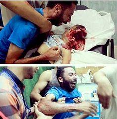 Nadie ve el sufrimiento de ese padre al ver a su hijo con la cabeza destrozada gaza..