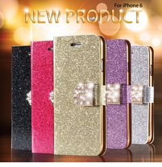 For iPhone 6 6S Case Luxury Glitter Bling Crystal Diamond PU Leather Wallet Case For Apple iPhone 6 6S 4.7 inch Card Slots Cover