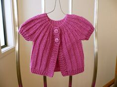 Pretty wool short sleeved cardigan baby girl to by SnuggleBubs