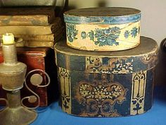 Antique Wallpaper Box Wood Top and Bottom c.