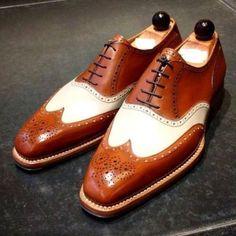 Men's Shoes - Men,s Oxford Handmade Two Tone shoes, Men White Tan Dress Office Cap Toe Shoe Two Tone Brogues, Spectator Shoes, Men Dress, Dress Shoes, Cap Toe Shoes, Casual Leather Shoes, Simple Shoes, Formal Shoes, Dress Formal